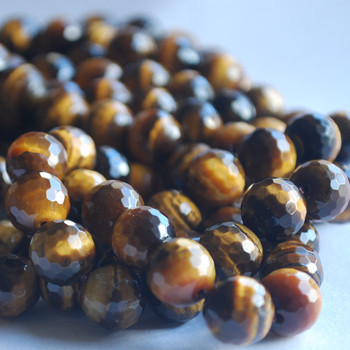 """High Quality Grade A Natural Tiger's Eye Faceted Semi-Precious Gemstone Round Beads 6,  8mm, 10mm sizes - 15"""" long size"""