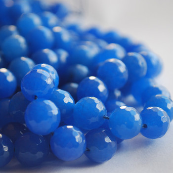 "Blue Quartz Faceted Round Beads 6mm, 8mm, 10mm sizes - 15"" long"