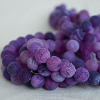 High Quality Crackle Purple Agate Frosted / Matte Semi-precious Gemstone Round Beads 4mm, 6mm, 8mm, 10mm sizes