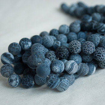 High Quality Crackle Black Agate Frosted / Matte Semi-precious Gemstone Round Beads 4mm, 6mm, 8mm, 10mm sizes