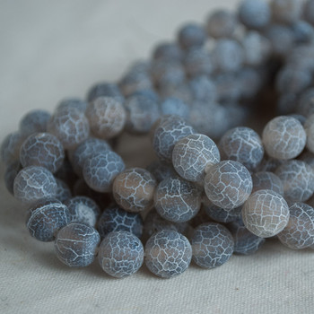 High Quality Crackle Grey Agate Frosted / Matte Semi-precious Gemstone Round Beads 4mm, 6mm, 8mm, 10mm sizes