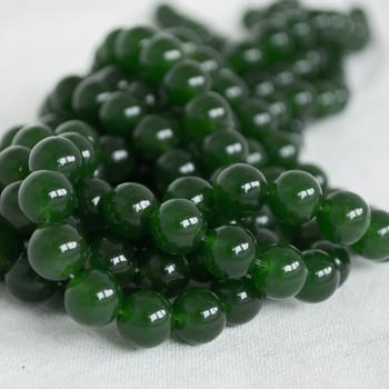 High Quality Dark Green Jade (dyed) Semi-precious Gemstone Round Beads - 4mm, 6mm, 8mm, 10mm sizes