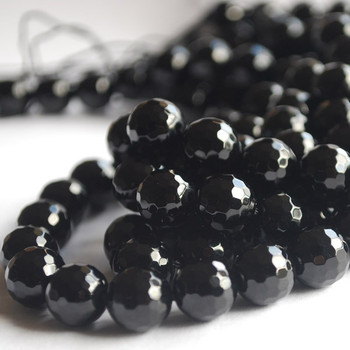 """High Quality Grade A Black Agate Onyx Faceted Semi-Precious Gemstone Round Beads - 4mm, 6mm, 8mm, 10mm sizes - 15"""" long"""