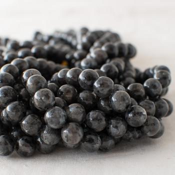 High Quality Grade A Natural Larvikite (dark grey) Semi-precious Gemstone Round Beads - 4mm, 6mm, 8mm, 10mm sizes