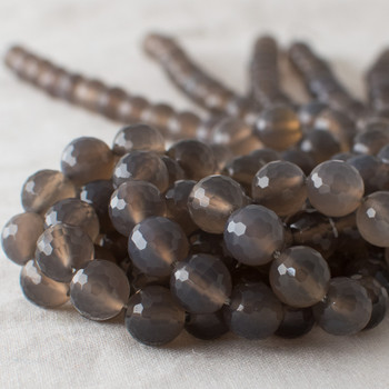 """High Quality Grade A Grey Agate Faceted Semi-Precious Gemstone Round Beads - 4mm, 6mm, 8mm, 10mm sizes - 15"""" long"""