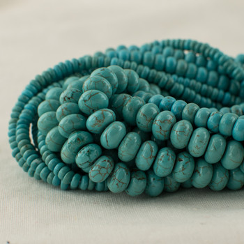 High Quality Grade A Turquoise (dyed) Semi-Precious Gemstone Rondelle / Spacer Beads - 4mm, 6mm, 8mm sizes