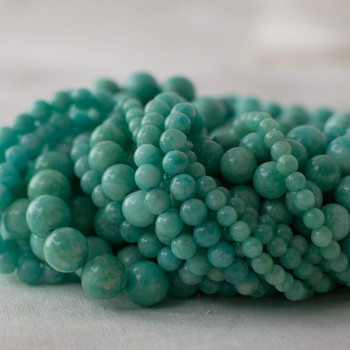 High Quality Grade A Natural Peruvian Amazonite (aqua green) Semi-precious Gemstone Round Beads - 4mm, 6mm, 8mm, 10mm sizes