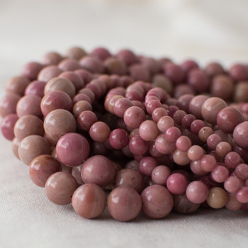 High Quality Grade A Natural Chinese Rhodonite (pink) Semi-precious Gemstone Round Beads - 4mm, 6mm, 8mm, 10mm sizes