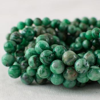 High Quality Grade A Green Crazy Lace Agate (dyed) Semi-precious Gemstone Round Beads - 6mm, 8mm sizes