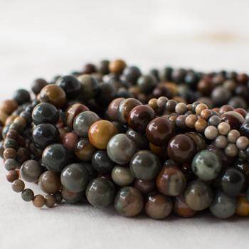 High Quality Grade A Natural Polychrome Jasper Semi-precious Gemstone Round Beads - 4mm, 6mm, 8mm, 10mm sizes