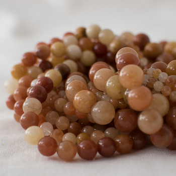 High Quality Grade A Natural Quartzite (orange) Semi-precious Gemstone Round Beads - 4mm, 6mm, 8mm, 10mm sizes