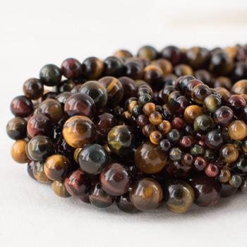 High Quality Grade A Multi-colour Tiger Eye Semi-precious Gemstone Round Beads - 4mm, 6mm, 8mm, 10mm sizes