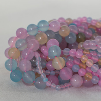 High Quality Grade A Mixed Pastel Colour Agate Semi-precious Gemstone Round Beads - 4mm, 6mm, 8mm, 10mm sizes