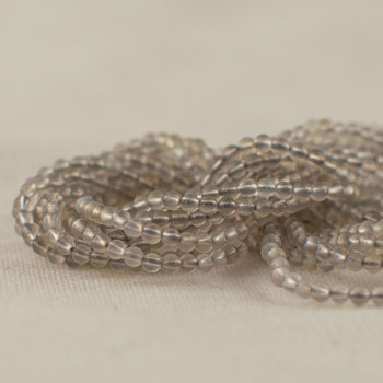 "High Quality Grade A Natural Grey Agate Semi-Precious Gemstone Round Beads - 2mm - 15.5"" long"