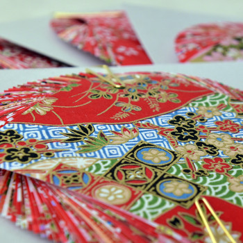 Japanese Handcarfted Yuzen Washi Origami Paper Pack - 40 sheets in Red Colour Theme (20 designs, 2 sheets per design) - 7.5cm