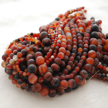 High Quality Grade A Madagascar Agate Semi-precious Gemstone Frosted / Matte Round Beads - 4mm, 6mm, 8mm, 10mm sizes
