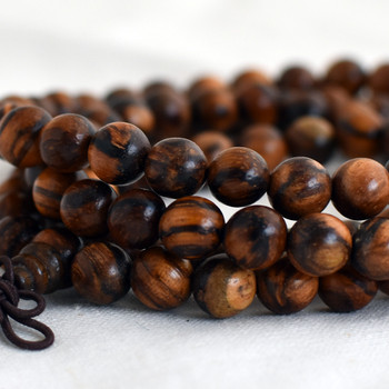 Natural Tiger Skin Sandalwood Round Wood Beads - 108 beads - Mala Prayer Beads - 6mm, 8mm, 10mm