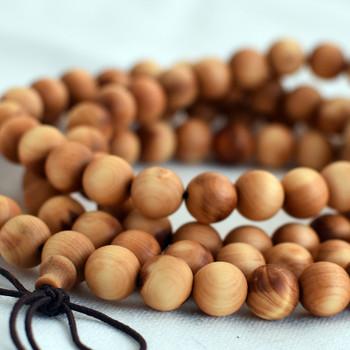 Natural Plain Thuja Round Wood Beads - 108 beads - Mala Prayer Beads - 6mm, 8mm