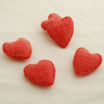 100% Wool Felt Fabric Hand Sewn / Stitched Felt Heart - 4 Count - approx 5.5cm - Light Coral Red