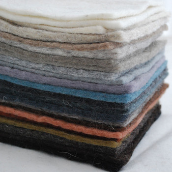 """Handmade 100% Wool Felt Square Sheets - Approx 5mm Thick - 22 assorted 6"""" Square Felt Sheets - Neutral Colours"""