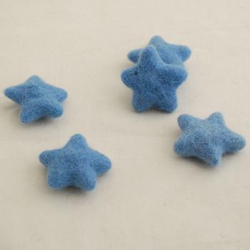 100% Wool Felt Stars - 5 Count - French Blue - approx 4.5cm - 5cm