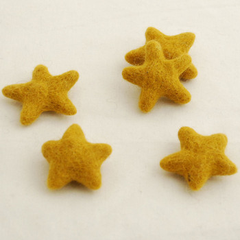 100% Wool Felt Stars - 5 Count - Goldenrod Yellow - approx 4.5cm - 5cm