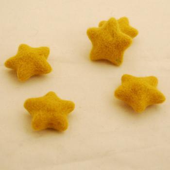 100% Wool Felt Stars - 5 Count - Golden Yellow - approx 4.5cm - 5cm