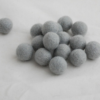 100% Wool Felt Balls - 10 Count - 2cm - Silver Grey