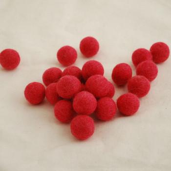 100% Wool Felt Balls - 10 Count - 2cm - Salmon Red