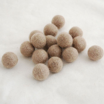 100% Wool Felt Balls - 5 Count - 3cm - Dark Latte