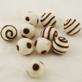 100% Wool Felt Balls - 10 Count - Ivory White Felt Balls with Brown Polka Dots / Swirl - approx 2.5cm