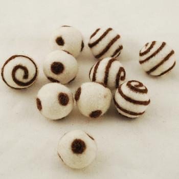 100% Wool Felt Balls - 10 Count - Ivory White Felt Balls with Brown Polka Dots / Swirl - approx 2.5cm