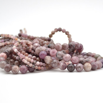 High Quality Grade A Natural Lepidolite (pale dusty pink purple) Semi-precious Gemstone Round Beads - 4mm 6mm, 8mm, 10mm sizes