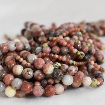 High Quality Grade A Natural Red Plum Blossom Jasper Semi-precious Gemstone Round Beads - 4mm, 6mm, 8mm, 10mm sizes