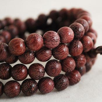 Natural Purple Rosewood Round Wood Beads - 108 beads - Mala Prayer Beads - 6mm, 8mm