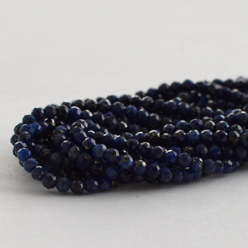 "High Quality Grade A Natural Lapis Lazuli Faceted Semi-Precious Gemstone Round Beads - 2mm - 15.5"" long"