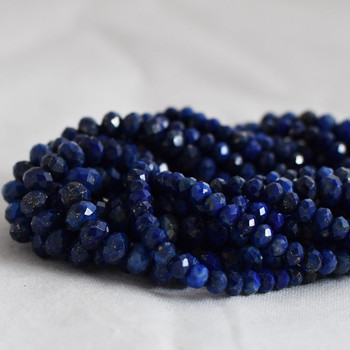 High Quality Grade A Natural Lapis Lazuli Semi-Precious Gemstone Faceted Rondelle / Spacer Beads - 3mm, 4mm, 6mm, 8mm sizes