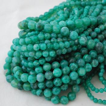 High Quality Grade A Green Fire Agate Semi-precious Gemstone Round Beads - 4mm, 6mm, 8mm, 10mm sizes