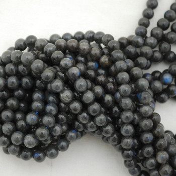 """High Quality Grade A Natural Black Labradorite Round Beads - 4mm, 6mm, 8mm, 10mm sizes - Approx 15.5"""" strand"""