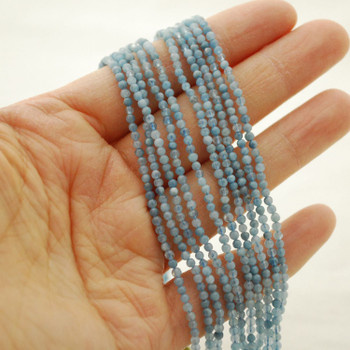 """High Quality Grade A Natural Aquamarine Semi-Precious Gemstone Round Beads - 2mm - 15.5"""" long"""