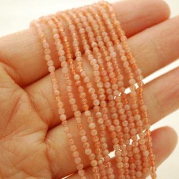 "High Quality Grade A Natural Sunstone Semi-Precious Gemstone Round Beads - 2mm - 15.5"" long"