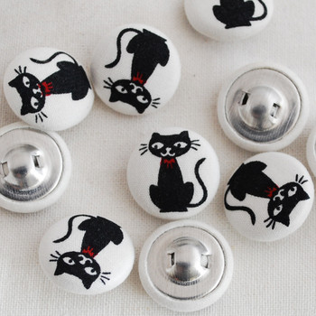 100 Fabric Covered Buttons - Black Cat - 2cm