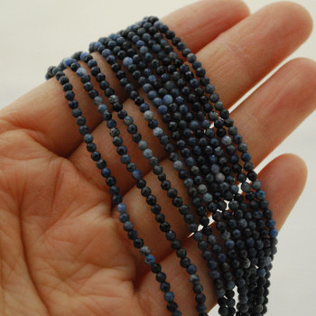 """High Quality Grade A Natural Dumortierite Semi-Precious Gemstone FACETED Round Beads - 2mm - 15.5"""" long"""