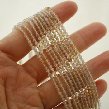 "High Quality Grade A Natural Gold Rutilated Quartz Semi-Precious Gemstone FACETED Round Beads - 2mm - 15.5"" long"