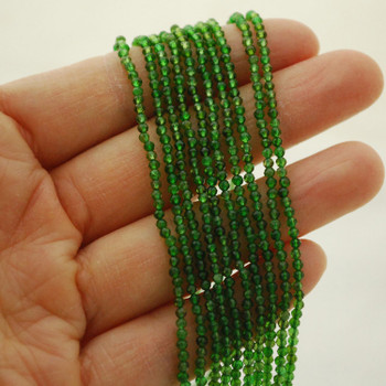 """High Quality Grade A Natural Russian Green Chrome Diopside Semi-Precious Gemstone FACETED Round Beads - 2mm - 15.5"""" long"""