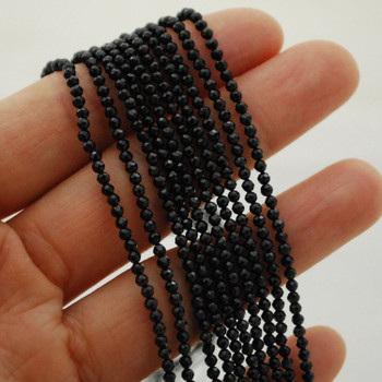 """High Quality Grade A Natural Black Spinel Semi-Precious Gemstone FACETED Round Beads - 2mm - 15.5"""" long"""