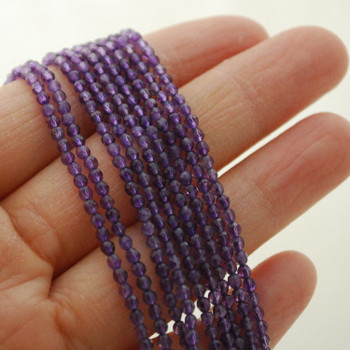 "High Quality Grade A Natural Amethyst Semi-Precious Gemstone FACETED Round Beads - 2mm - 15.5"" long"