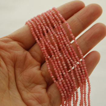 "High Quality Grade A Natural Rhodochrosite Semi-Precious Gemstone FACETED Round Beads - 2mm - 15.5"" long"