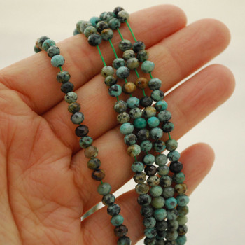 """High Quality Grade A Natural African Turquoise Semi-Precious Gemstone FACETED Rondelle Spacer Beads - 4mm x 3mm - 15.5"""" strand"""