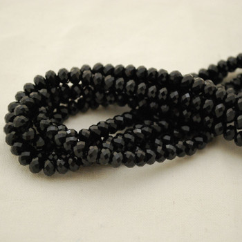 "High Quality Grade A Natural Black Tourmaline Semi-Precious Gemstone FACETED Rondelle Spacer Beads - approx 6mm x 4mm - 15.5"" strand"